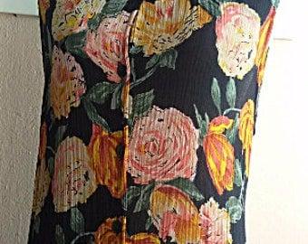 90s Grunge Dress - Floral Maxi Dress - Rayon Summer Dress  - Made in India - Medium