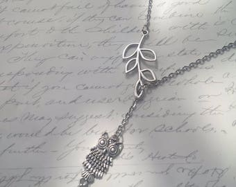 Owl charm lariat necklace with branch