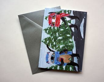 Cats with Christmas Tree Holiday Card, Cat Christmas Card, Black Cat Holiday Card, Cats with Coffee Holiday Card by Amber Maki