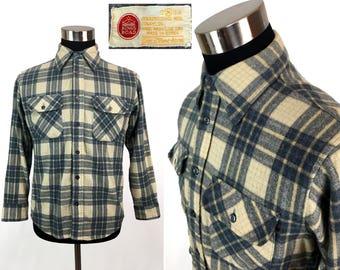 Vintage 80s Plaid Flannel Button-Down Shirt MEDIUM // Sears // Wool // Tartan // Lumberjack // Classic // Boyfriend // M // Retro