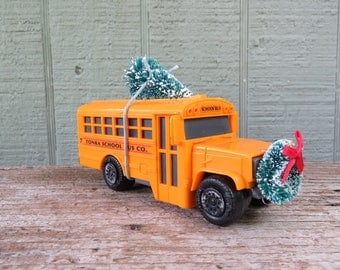 School Bus with Christmas Tree and Wreath- Plastic Tonka School Bus 5 1/2""