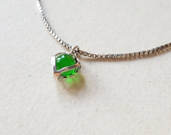 Tiny Silver May Birthstone Heart Pendant, 1980s (F944A)