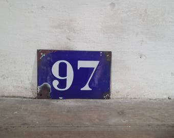 French Enamel Number, Antique Enamel Sign, French Number Sign, French House Number, French Enamel Sign, Enamel House Number, French Antiques