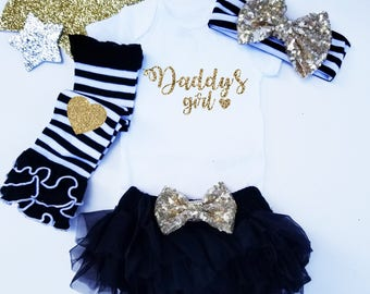 Daddy's Girl Set Custom Name Gold Glitter with Heart Gold headband and  Legwarmer Set Bloomers and Bodysuit