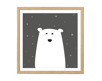 Polar bear nursery print Polar bear print Polar bear nursery monochrome nursery decor monochrome nursery Polar bear illustration