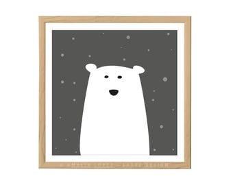 Polar bear nursery print Polar bear print Polar bear nursery monochrome nursery decor monochrome nursery Polar bear illustration