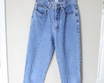 vintage high rise waist distressed  mom  jeans denim 28