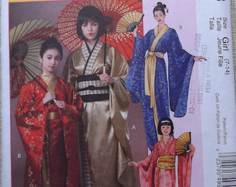 Child's Lined Kimonos with Obi or Tie Closures Costume in Sizes 7 to 14 Uncut/FF McCall's Sewing Pattern M4953