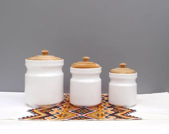 Vintage kitchen canisters etsy - White ceramic canisters for the kitchen ...