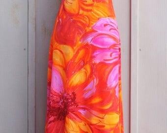 Colorful Hawaiian Dress - Bohemian Tropical Dress - 50s Luau Dress - Open Back Maxi Dress - Floral Tiki Dress - 60s Waltah Clarke's Dress
