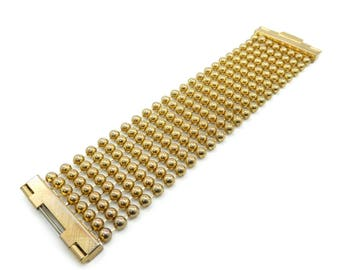 Vintage Multi Bead Bracelet, Wide, Gold Tone