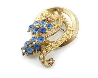 Vintage Blue Rhinestone Brooch, Faux Pearls