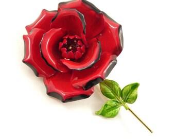 Vintage Red Rose Brooch, Large, Enamel, Gold Tone, F37