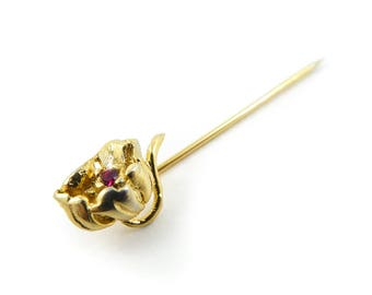 Vintage, Flower Stick Pin, Red Rhinestone, Gold Tone, STV45