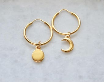 Gold charm hoops, small gold hoops, gold charm creole, crescent moon hoops, celestial hoops, gold hoops,