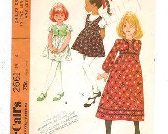 1970s McCall's 2661, Child's Dress with Vest, Short or Midi Length, Long or Short Puff Sleeves, Retro Sewing Pattern, Size 4 Breast 23