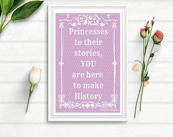 Princesses Feminist Nursery Art RINTABLE print New born girl gift feminist poster. Quotes for baby girl nursery