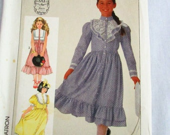Girls Gunne Sax Dress Pattern - Jessica - Uncut Simplicity Pattern 7402 - Size 8 10 12 14