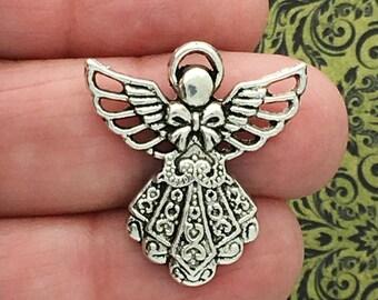 8 Filigree Silver Angel Charm Pendant SP0088