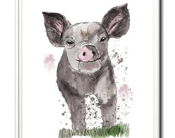 Farmyard print, pig wall art, limited edition print. From an original painting by Paula Jeffery. Art print, pigs, piglet.
