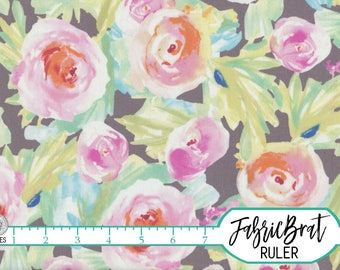 WATERCOLOR FLORAL ROSES Fabric by the Yard, Fat Quarter Blush Pink Peach & Mint Green Flower Fabric 100% Cotton Quilting Apparel Fabric a4-6