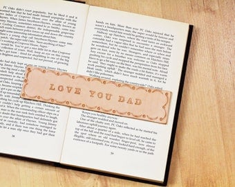 Love You Dad Leather Bookmark, Dad Bookmark, Father Gift, Dad Birthday Gift For Dad, Unique Dad Gift, Hand Tooled Leather Bookmark LDM80