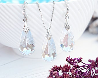 White Swarovski teardrop crystal earrings necklace set Sterling Silver bridal jewellery Clear crystal wedding bridesmaids earrings 2