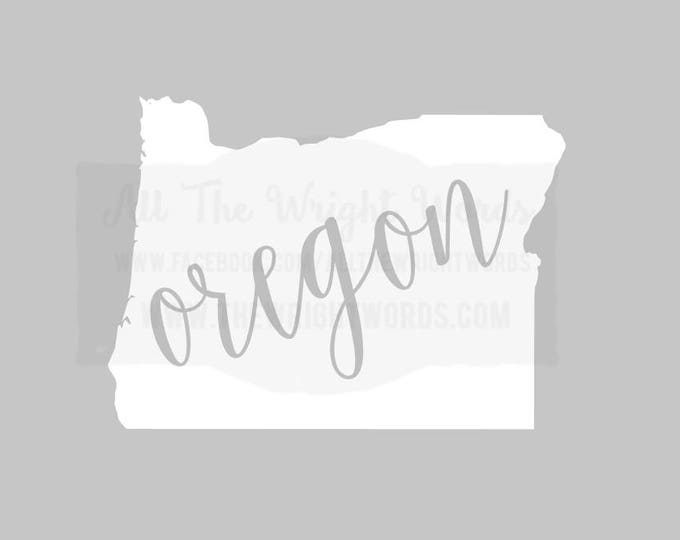 """Free Shipping  //  5.5x4"""" Oregon State Decal,  Car Decal,  Laptop Decal, Local,  OR,  PNW, Beaver State,  Great for water bottles"""