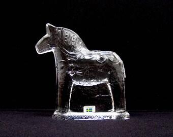 "Large 6.5"" Crystal Dala Horse Lindshammar Sweden Lindshammar Glasbruk Clear Glass Dalecarlian Swedish Paperweight Dalahäst Scandinavian Art"