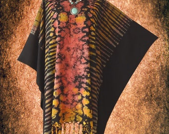 Abstract Hand dyed Artwork Casual Beach Cover Up Blouse Poncho Top
