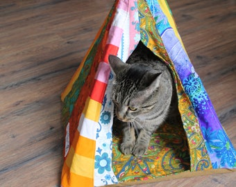Cat tent, pet teepee, pet bed, cat toy, boho cat tent, Bohemian cat, doll tent