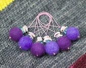 Stitch Markers - Set of 6 - Snag Free Knitting Notions in shades of purple