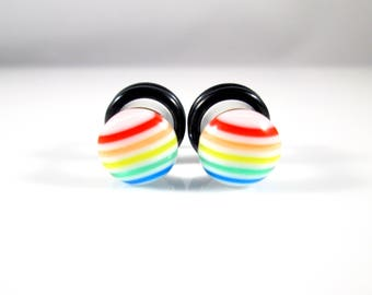 Rainbow Stripes with White Background Candy Dots plugs - Available in 4g, 2g, and 0g
