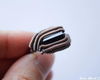 Black Tourmaline ring size 9.75, Wire Wrappped ring, Black gemstone ring Black Jewelry Oxidized copper ring Tourmaline Jewelry Tribal ring