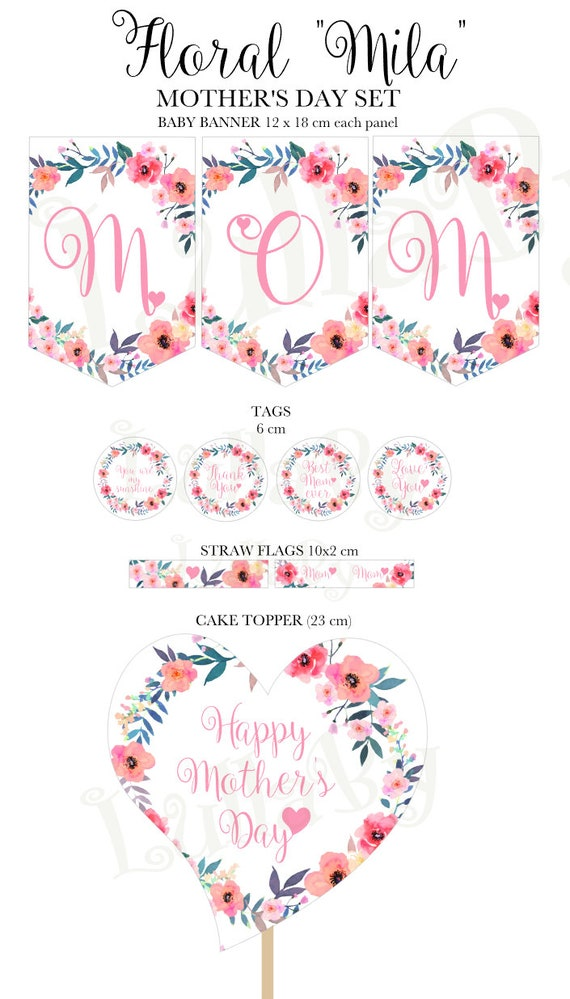 mother 39 s day floral party set banner tags straw flags cake topper printable files. Black Bedroom Furniture Sets. Home Design Ideas
