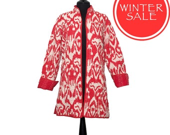 WINTER SALE - IKAT Jacket - X Small & Small sizes - Coral Red and White