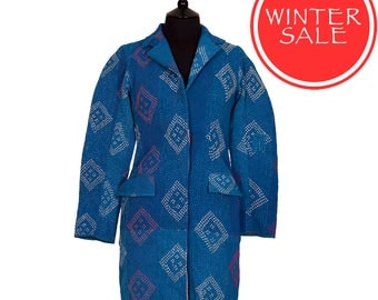 WINTER SALE - Small size - Classic Kantha Jacket - Azure blue with pale pink back panel.