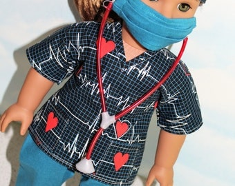 18 Inch Doll (like American Girl) Black, Red and Teal Heartbeat Print Hospital Scrubs with Stethoscope (5 piece set)