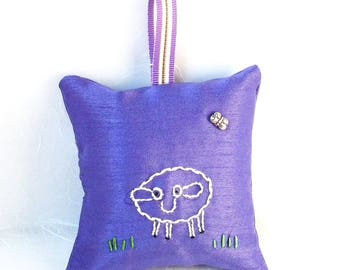 Hand-embroidered Hanging Lavender Sachet filled with home-grown lavender from Napa Valley | Sleep Aid | Air Freshener | Lamb