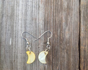 Yellow moon earrings/ celestial earrings/ gifts for girls/ gifts for women