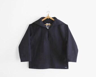 Vintage Navy Wool Fisherman Pea Blouse «Vareuse», Made In France
