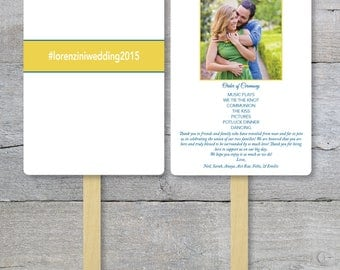 DIY - Wedding Program Fan Kit, Couple Picture, Hash Tag, Fan With Picture,  Destination Wedding Order of Service Fan,