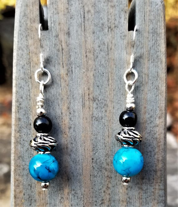 Elegant Blue, Black & Silver Earrings