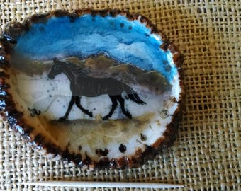 """Antler Belt Buckle with a hand painted black horse and mountains (original) on a genuine 3"""" wide elk antler rosette"""