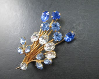 Vintage Gold Tone Brooch Pin with Blue and Clear Rhinestones Stems Flowers