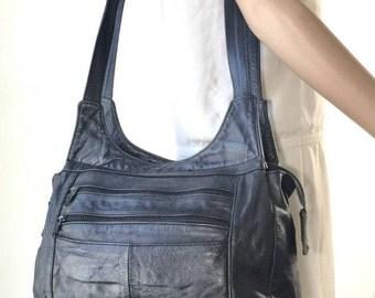 Black Leather Purse, Bag, Shoulder Bag, Made in Mexico