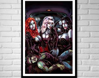 3 SIZES Heavy Metal Vampire Girls art poster print Rock n Roll Monsters pin up vixens by Scott Jackson
