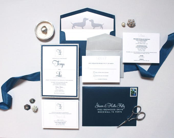Layered Silver Glitter and Navy Blue Wedding Invitation, Details, Rehearsal, RSVP & Dachshund in Envelope Liner - More Colors Available!