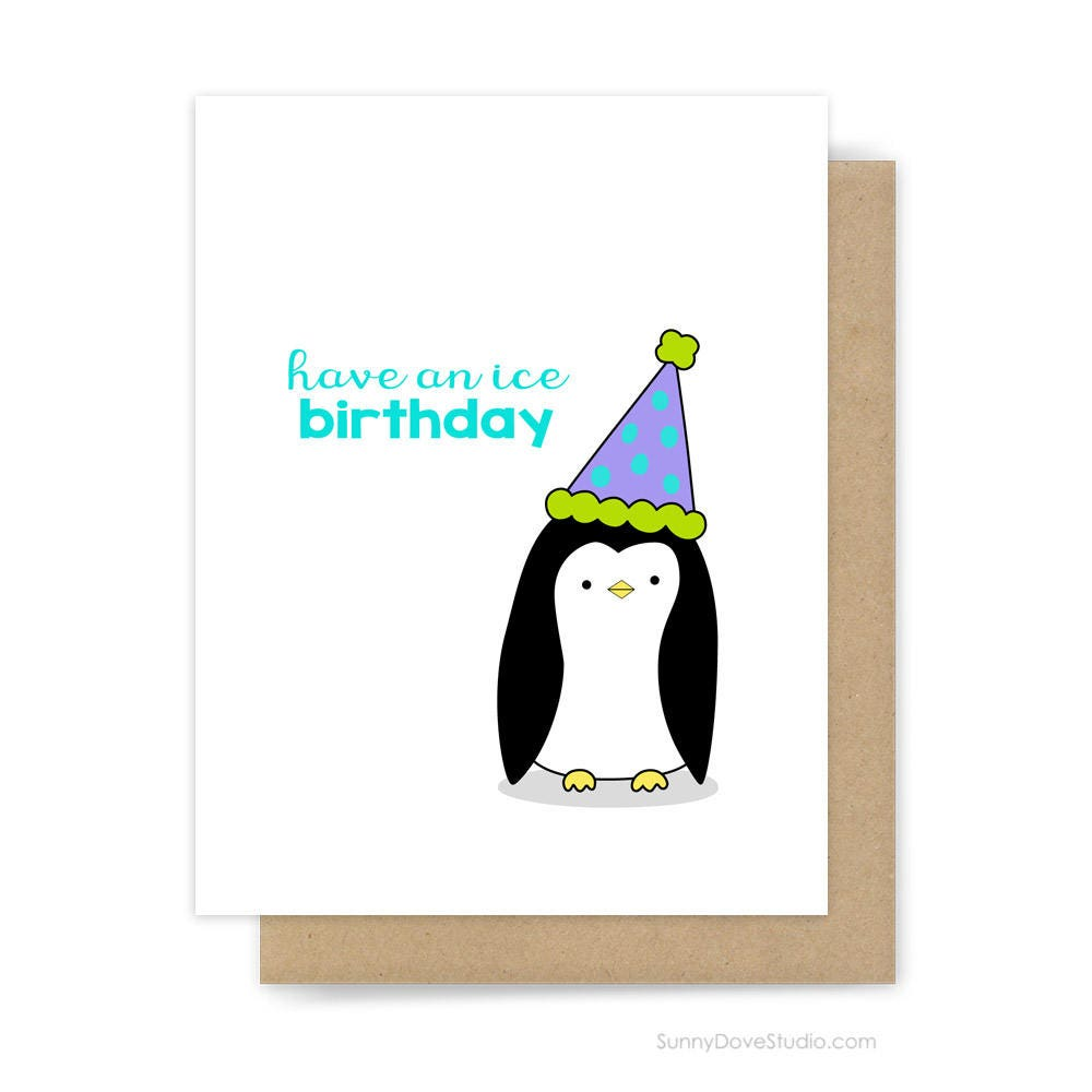 Funny Birthday Card For Friend Her Him Cute Fun Penguin Pun
