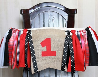 Red, White and Black Birthday Garland, High Chair Garland, High Chair Banner